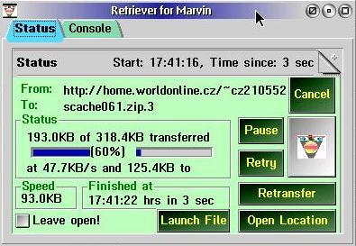 Marvin Retriever Main Window